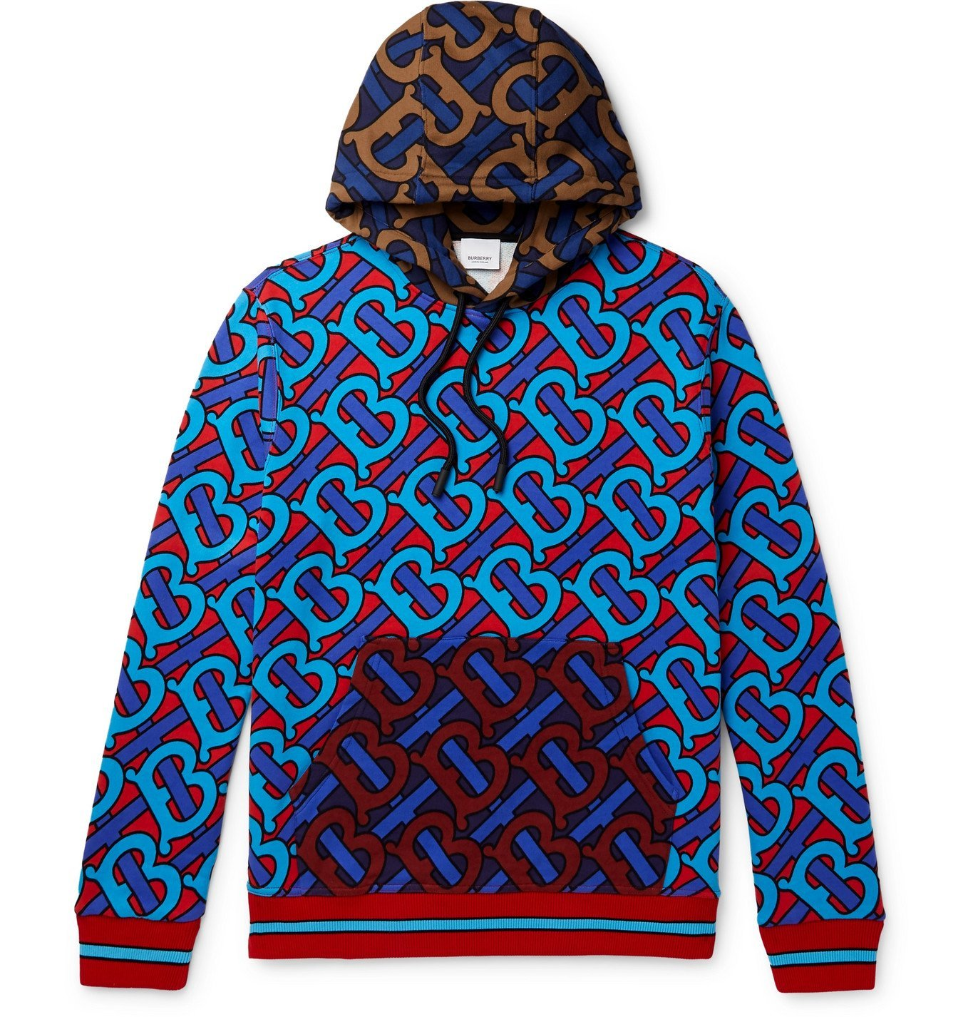 Photo: Burberry - Logo-Print Loopback Cotton-Jersey Hoodie - Red
