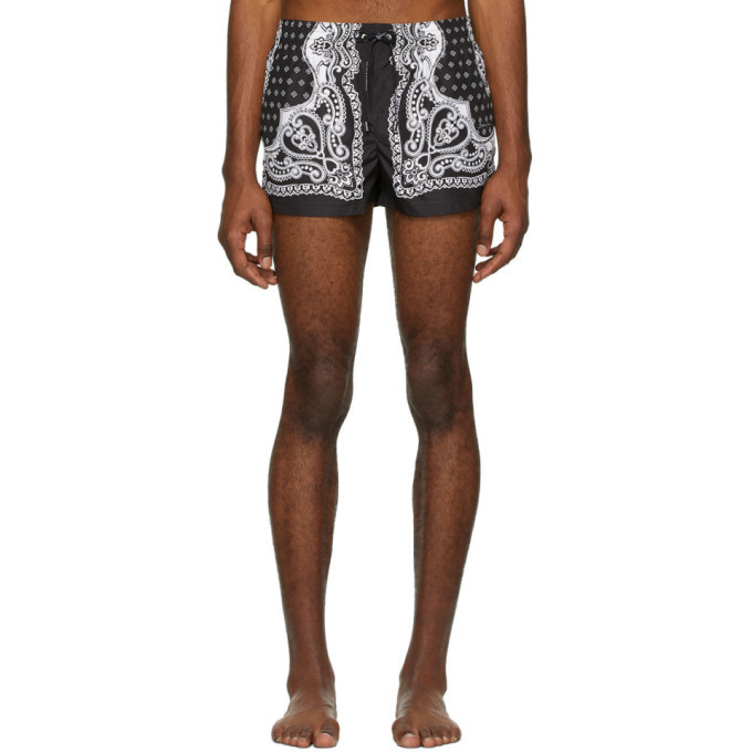 Photo: Dolce and Gabbana Black and White Bandana Swim Shorts