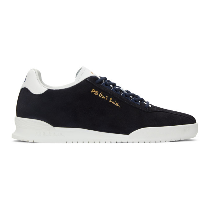 Photo: PS by Paul Smith Navy Suede Achirus Sneakers