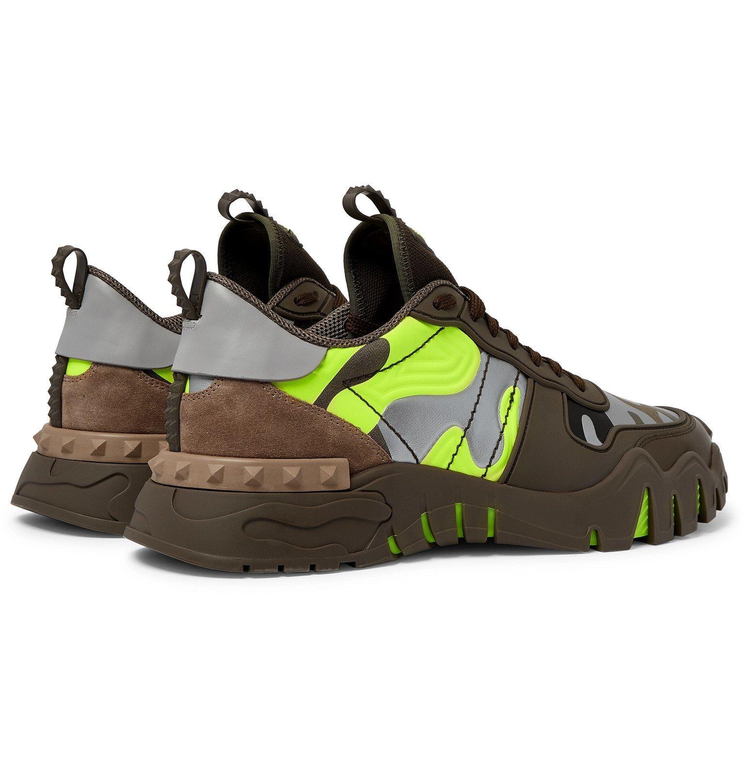 Valentino - Valentino Garavani Rockrunner Plus Rubber, Suede and Canvas Sneakers - Green
