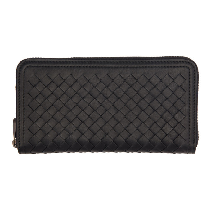 Bottega Veneta Black Intrecciato Continental Zip Around Wallet
