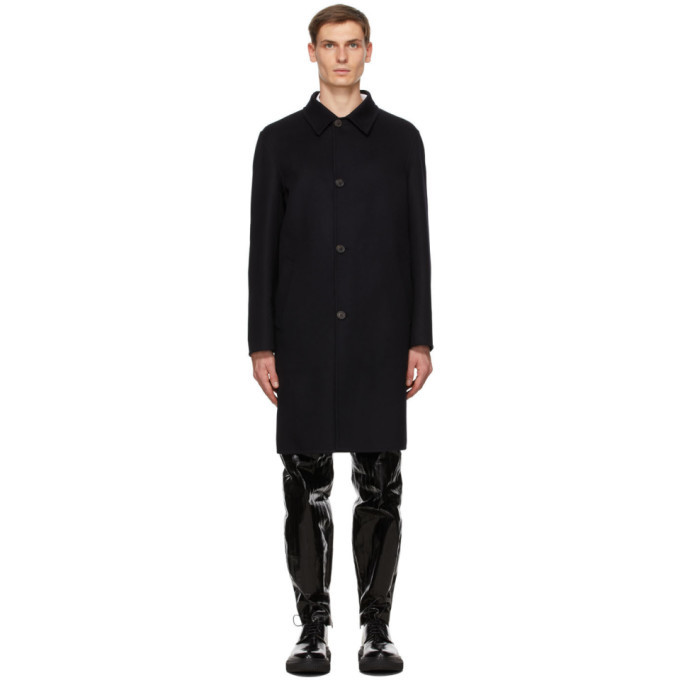 Dunhill Navy Engineered Double Face Mac Coat