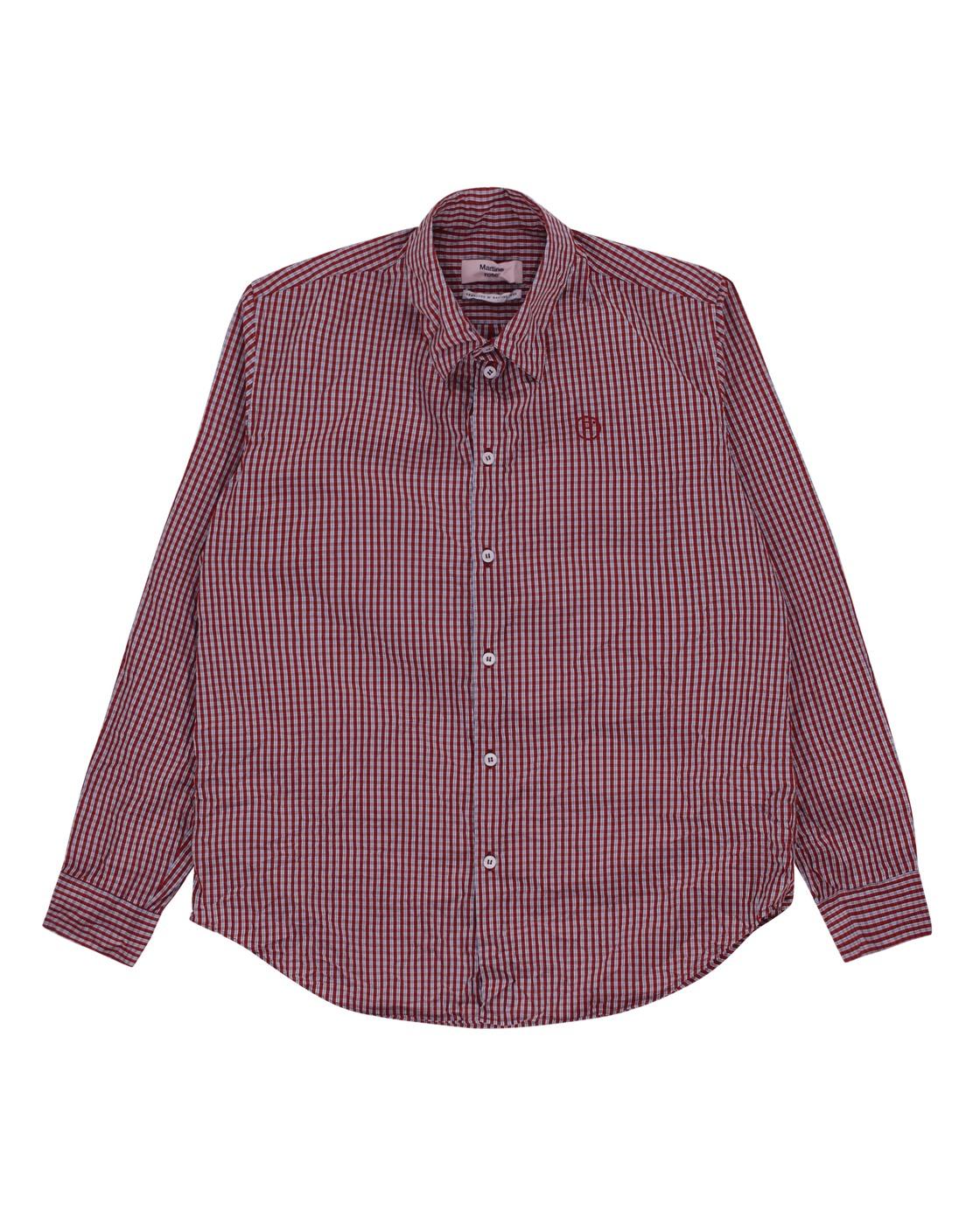 Martine Rose Crinkled Shirt Blue/Red
