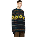Sacai Navy Wool Floral Sweater