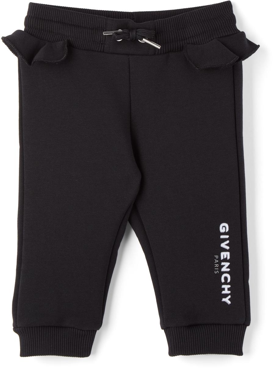 Photo: Givenchy Baby Black Logo Ruffle Lounge Pants