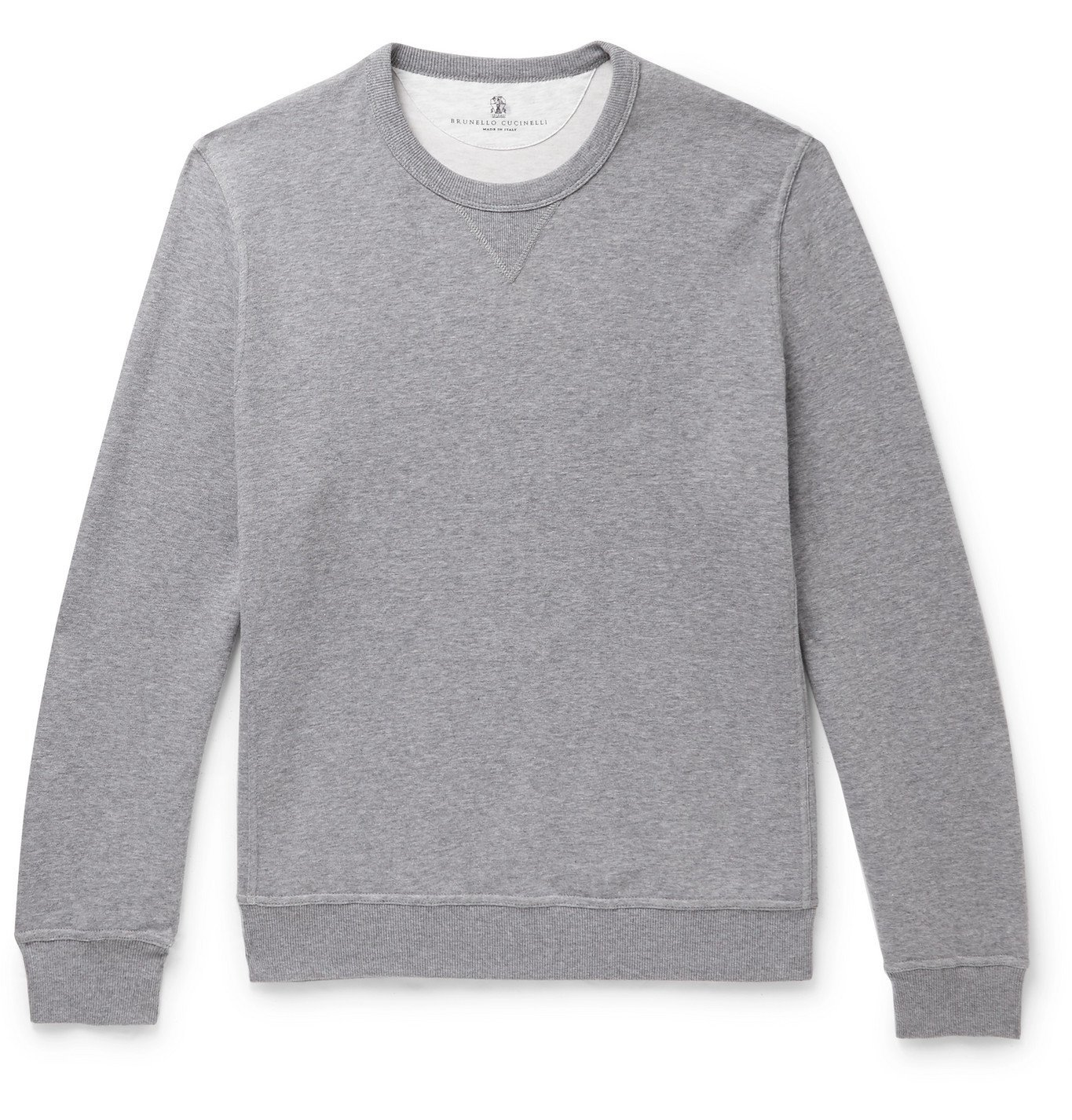 Photo: Brunello Cucinelli - Melangé Cotton-Blend Jersey Sweatshirt - Gray