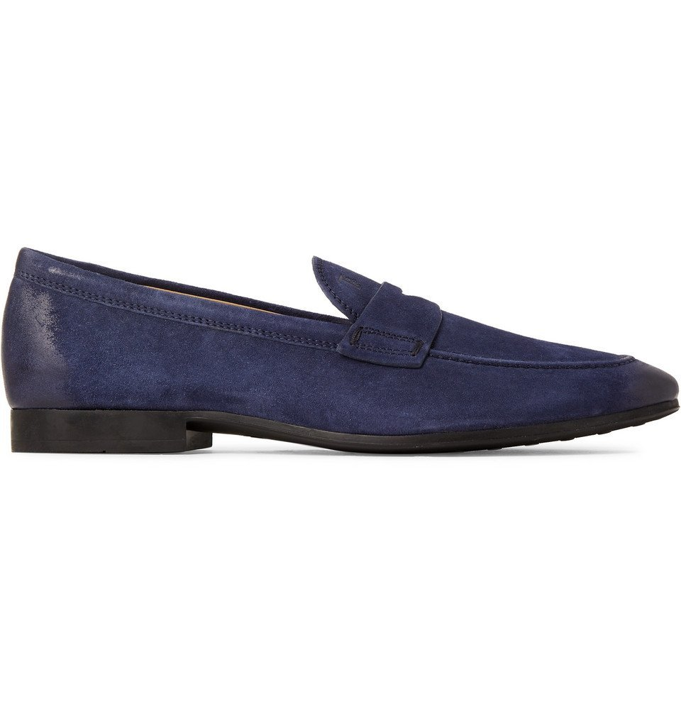 Tod's - Oiled-Suede Loafers - Men - Storm blue