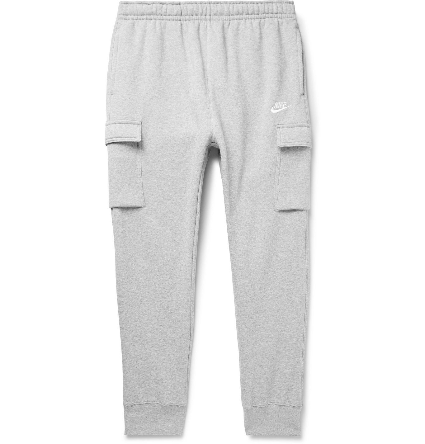 Photo: Nike - Sportswear Club Slim-Fit Tapered Fleece-Back Cotton-Blend Jersey Cargo Sweatpants - Gray