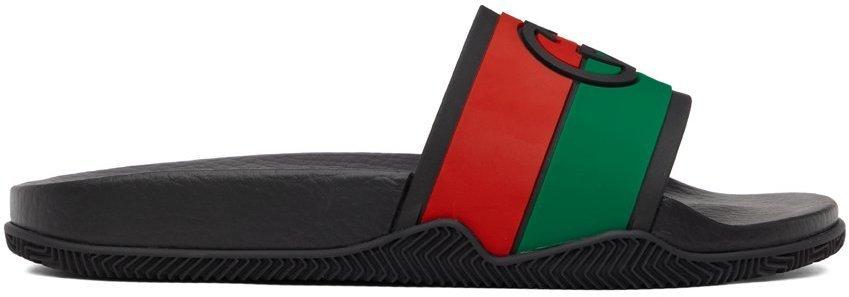 Photo: Gucci Black Interlocking G Slip-On Sandals