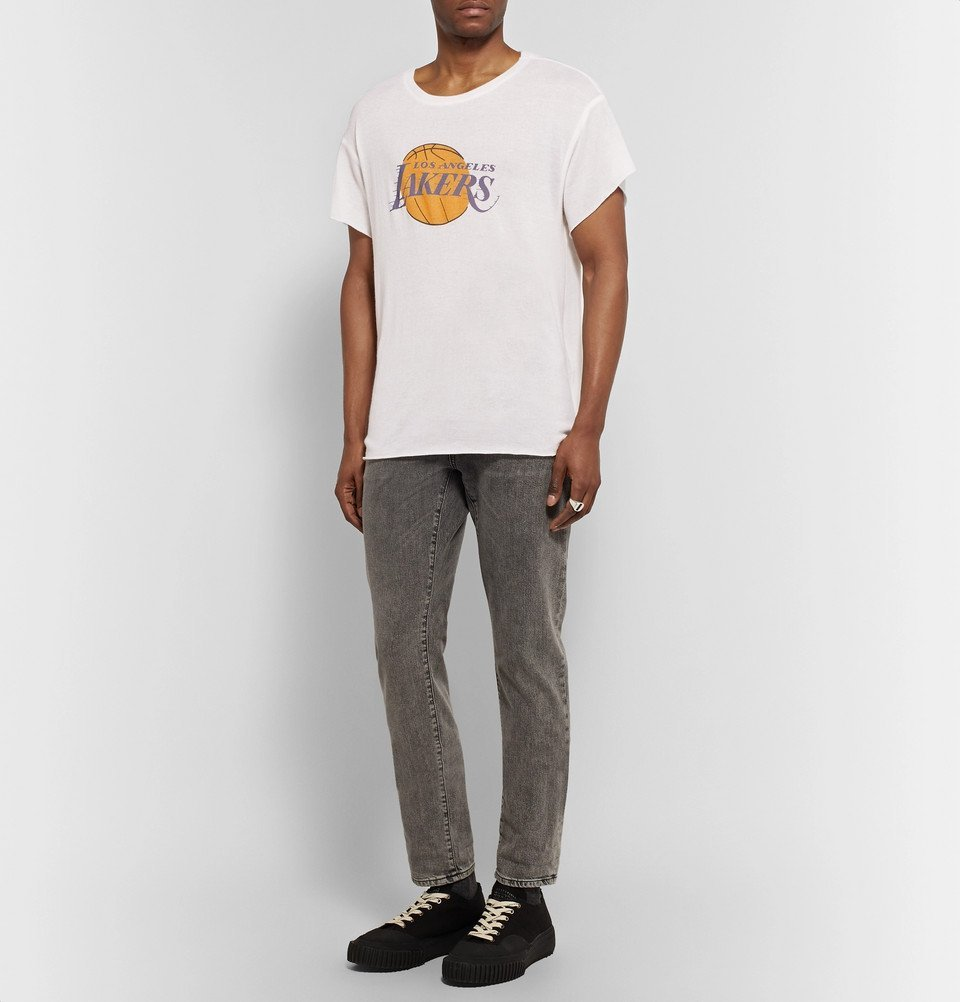 The Elder Statesman - NBA Los Angeles Lakers Printed Cashmere and Silk-Blend T-Shirt - Off-white