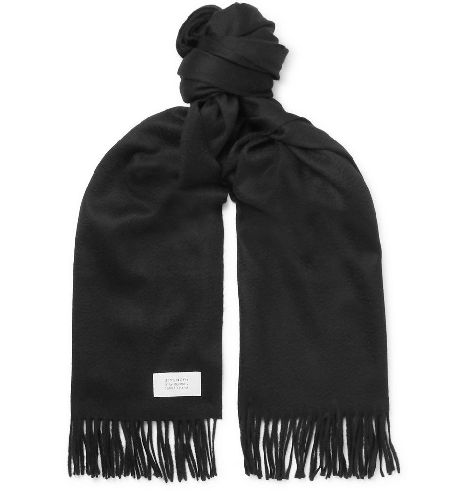 Photo: Givenchy - Fringed Wool and Cashmere-Blend Scarf - Black