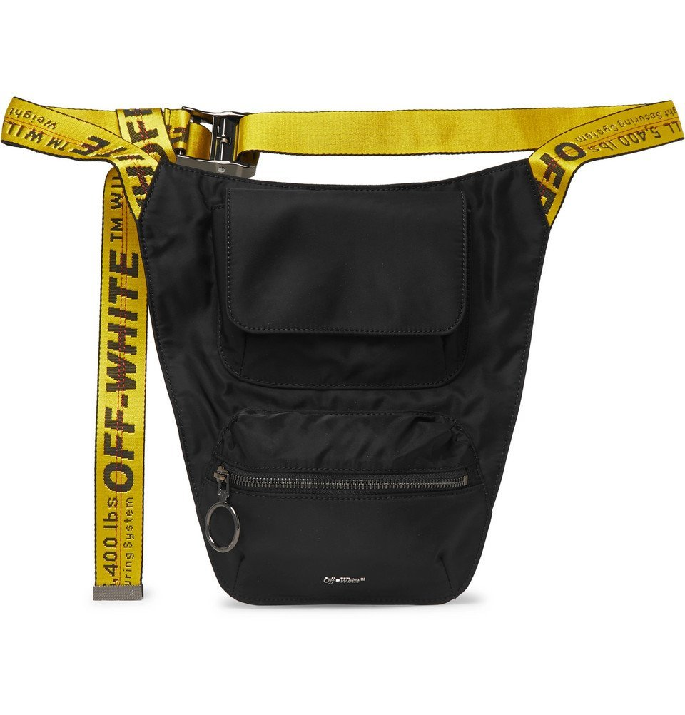 Photo: Off-White - Logo-Jacquard Webbing and Shell Belt Bag - Black