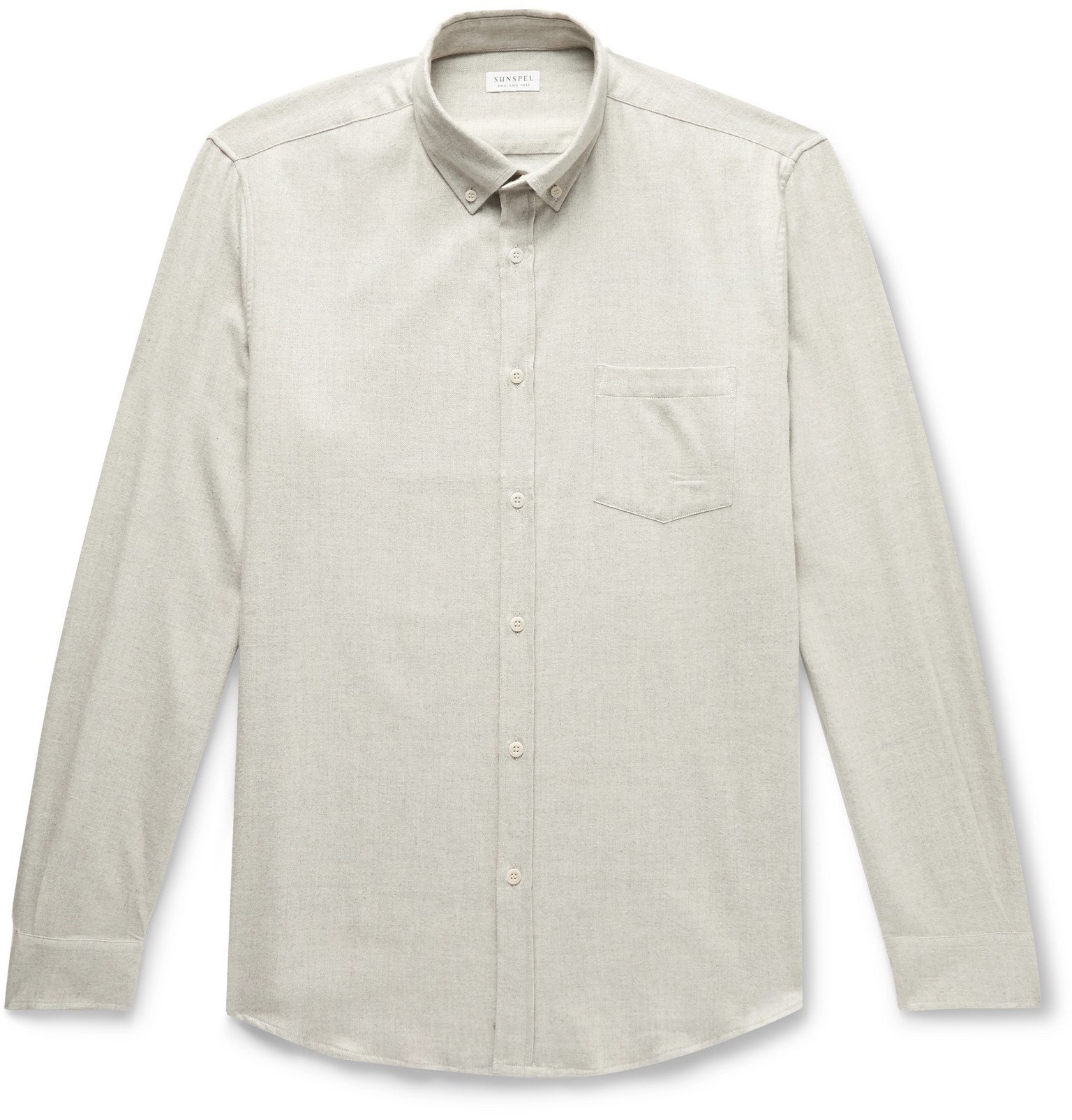 Sunspel - Button-Down Collar Brushed Cotton-Flannel Shirt - White