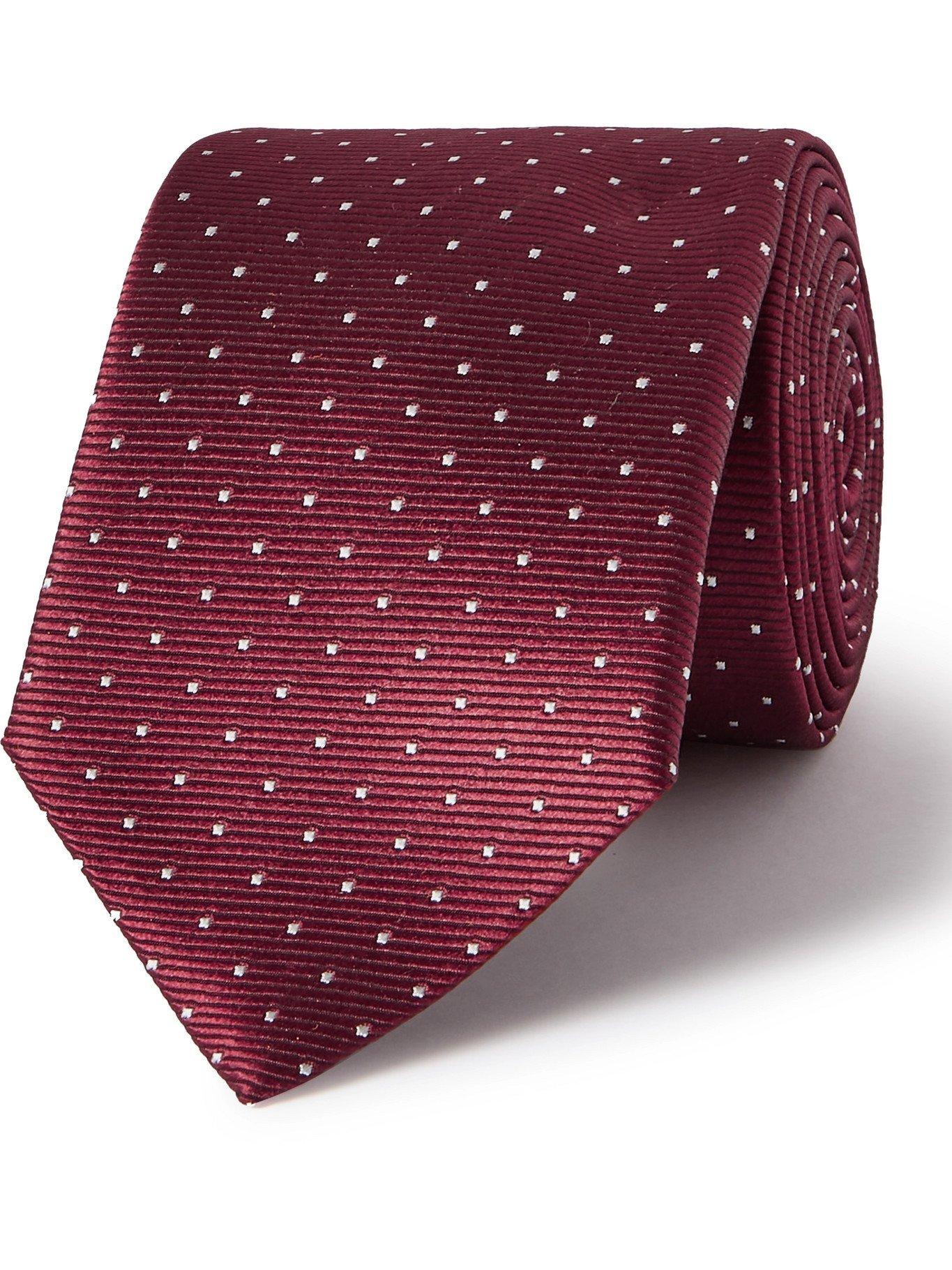 Photo: LANVIN - 7cm Pin-Dot Silk-Faille Tie - Red