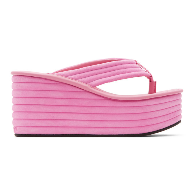 Photo: Fendi Pink Suede Promenade Sandals