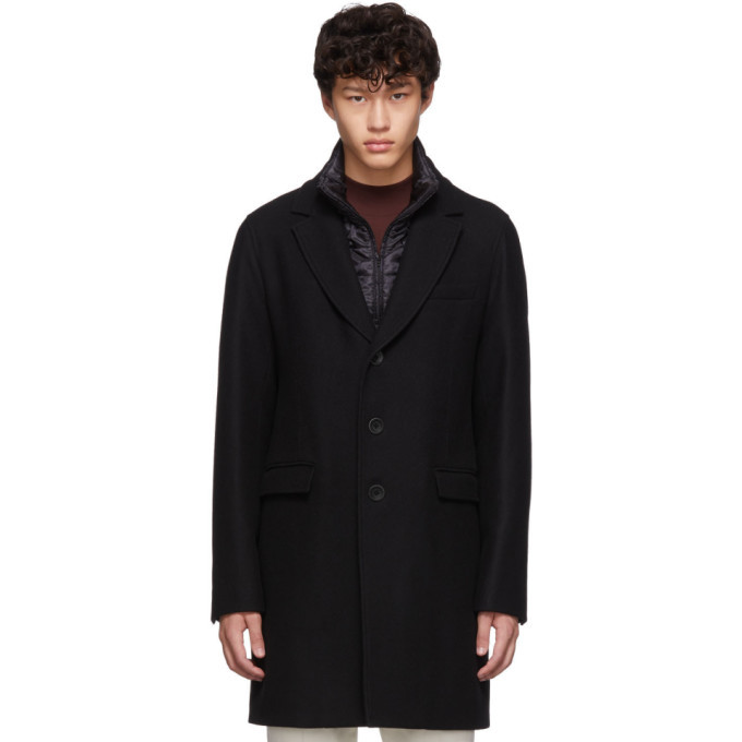 Photo: Herno Black Diagonal Wool Coat