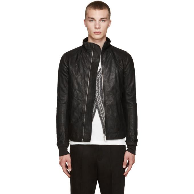 Photo: Rick Owens Black Intarsia Leather Jacket