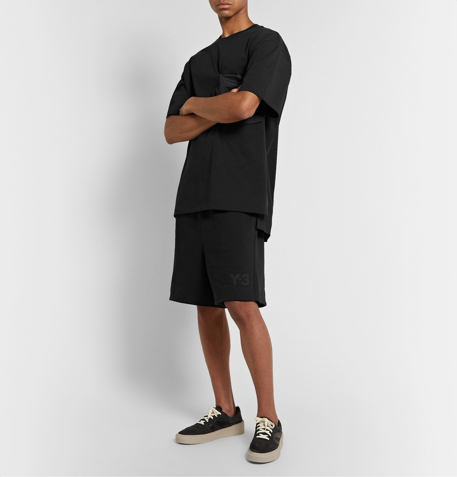 Y-3 - Wide-Leg Shell-Trimmed Loopback Cotton-Jersey Drawstring Shorts - Black