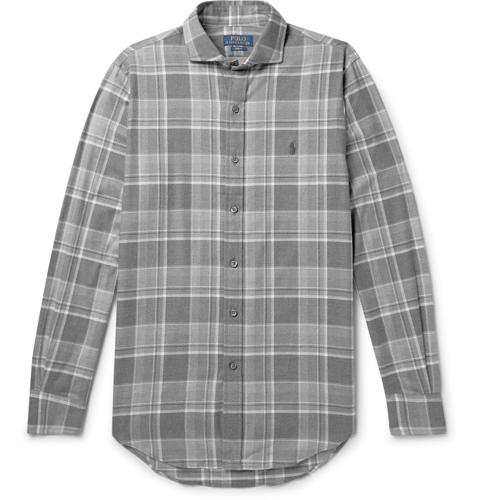 Photo: Polo Ralph Lauren - Checked Cotton-Flannel Shirt - Gray