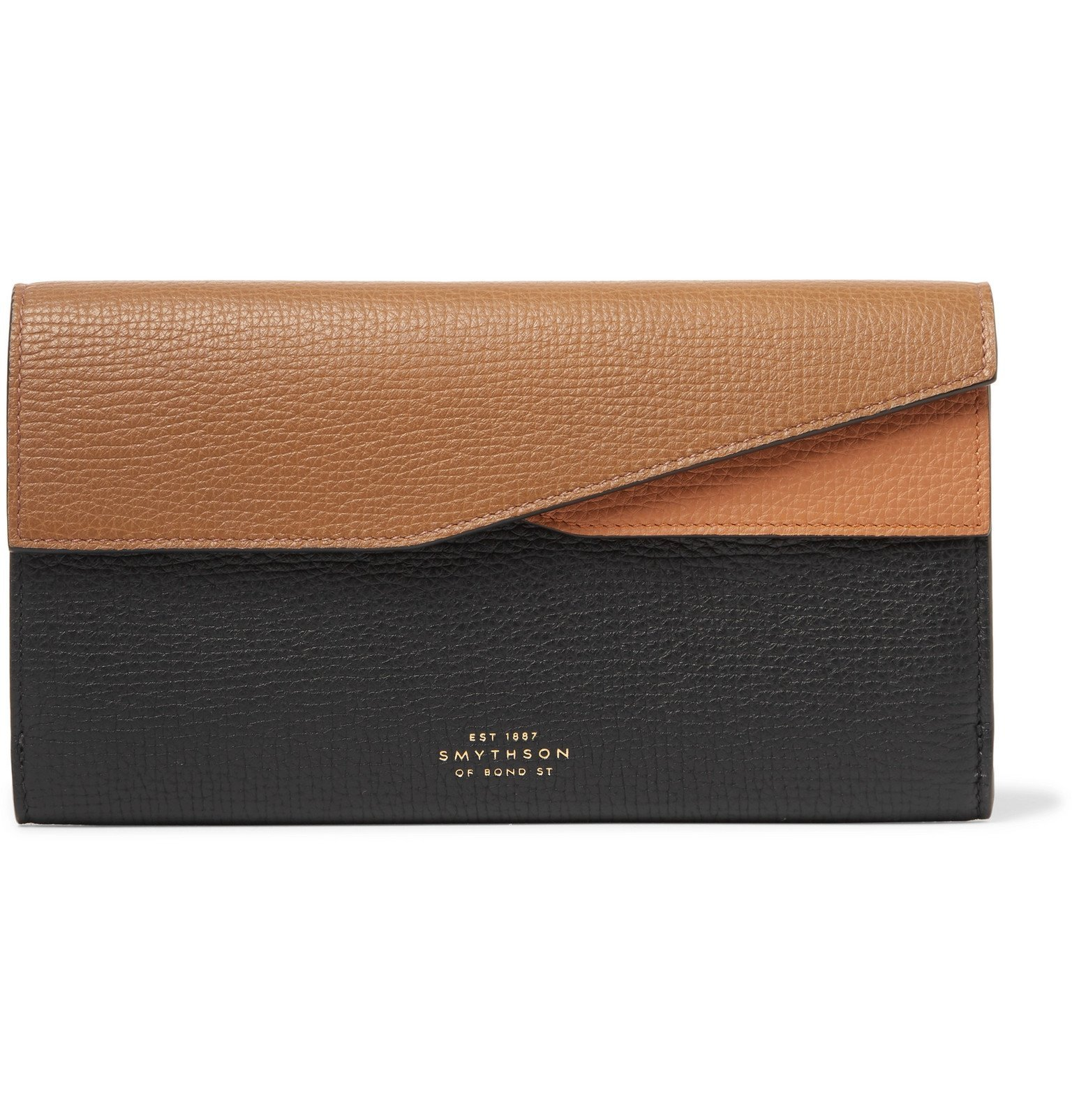 Photo: Smythson - Colour-Block Full-Grain Leather Travel Wallet - Brown
