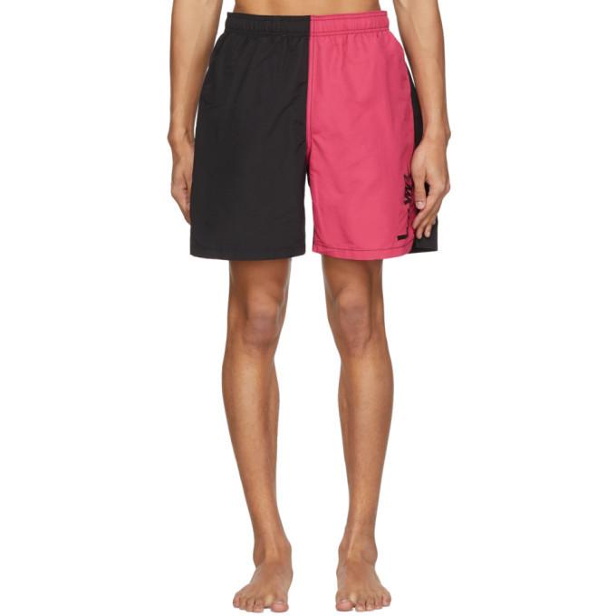 Photo: Stussy Black and Pink Panel Swim Shorts