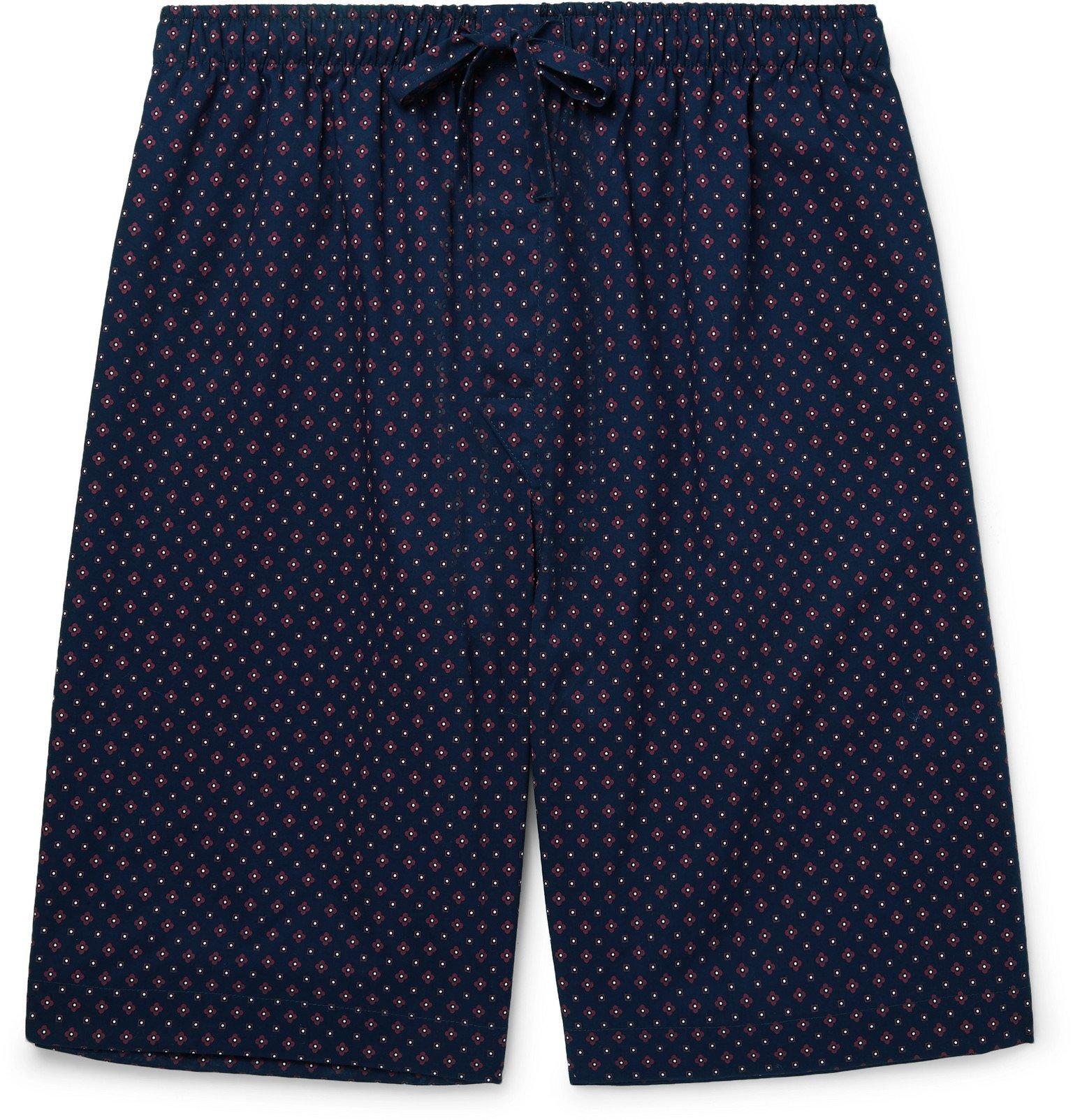 Photo: Derek Rose - Nelson 72 Printed Cotton-Poplin Pyjama Shorts - Blue