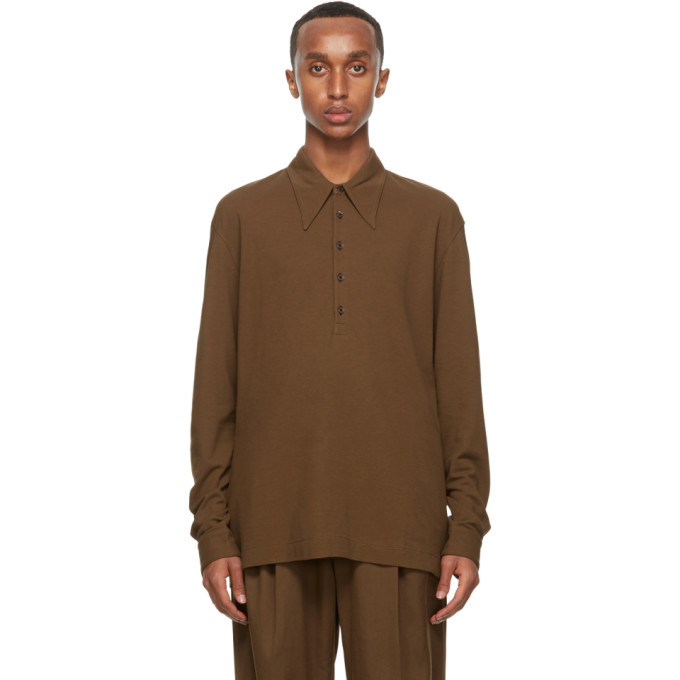Photo: Lemaire Brown Crepe Jersey Long Sleeve Polo