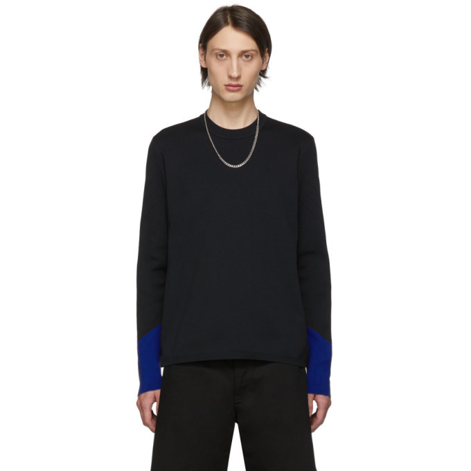 Photo: Bottega Veneta Black and Blue Techno Knit Sweater