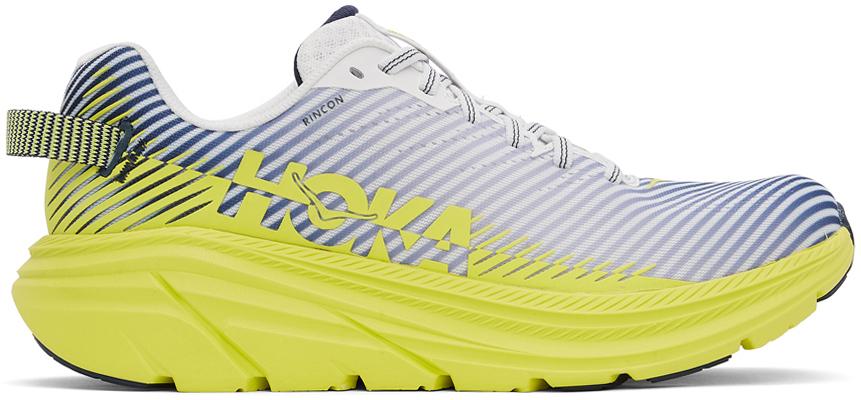 Photo: Hoka One One White & Yellow Rincon 2 Sneakers