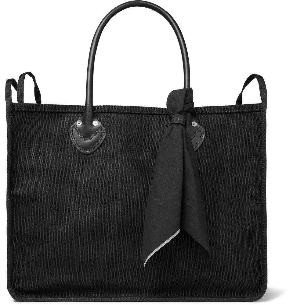 KAPITAL - Leather-Trimmed Printed Cotton-Canvas Tote Bag - Men - Black