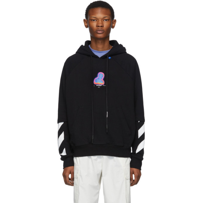 Photo: Off-White Black and Multicolor Thermo Double Sleeve Hoodie