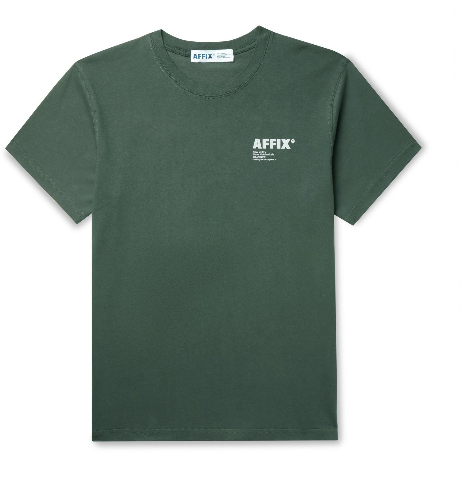 Photo: AFFIX - Logo-Print Cotton-Jersey T-Shirt - Green