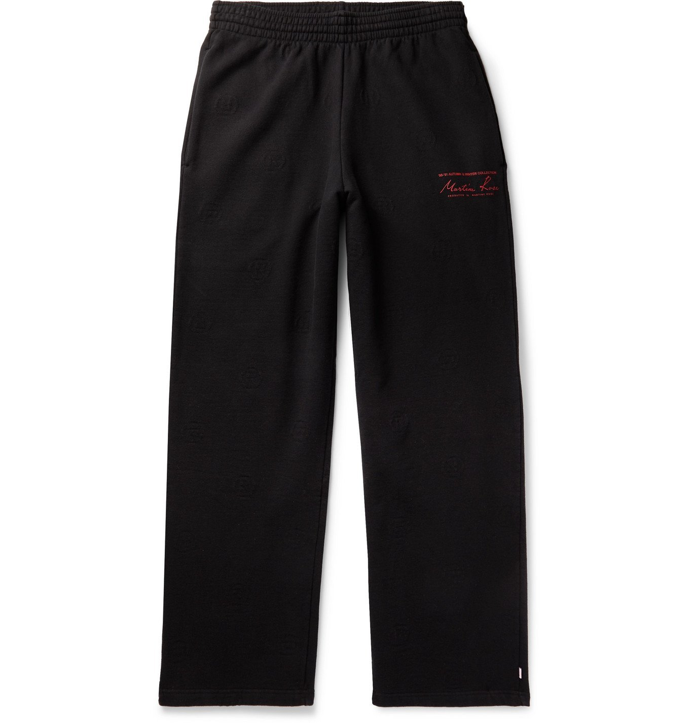 Photo: Martine Rose - Logo-Jacquard Printed Fleece-Back Cotton-Jersey Sweatpants - Black