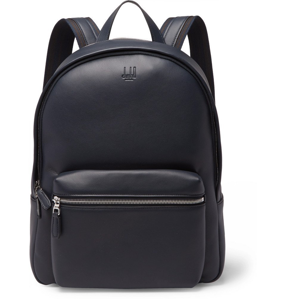 Dunhill - Hampstead Canvas-Panelled Full-Grain Leather Backpack - Men - Midnight blue