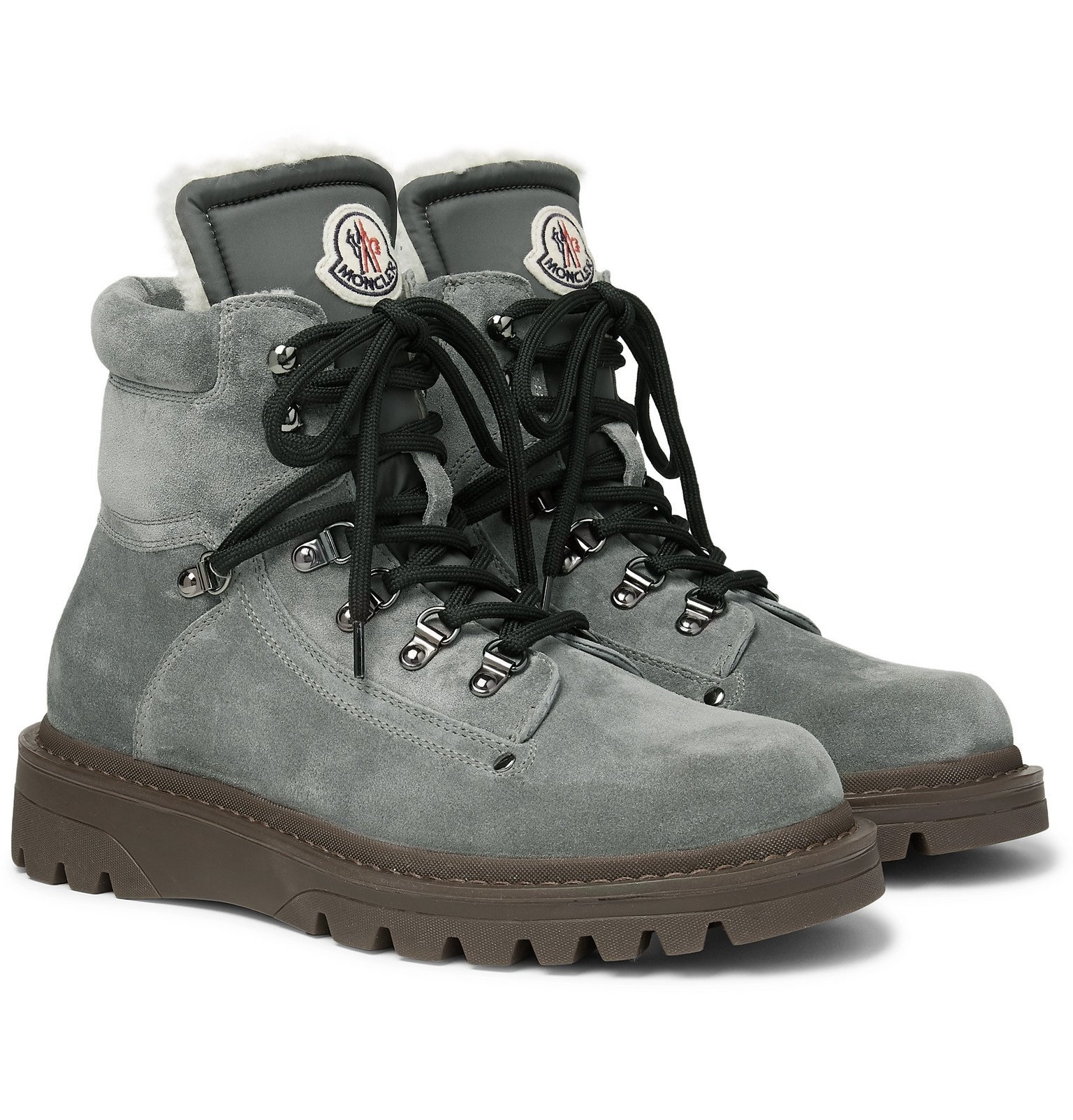 Photo: Moncler - Egide Shearling-Lined Suede Boots - Gray