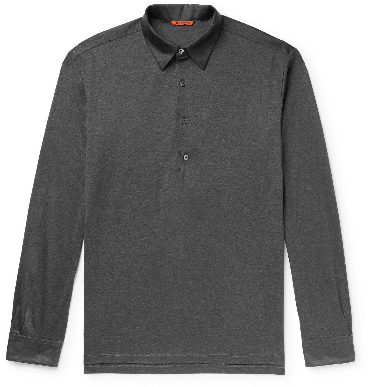 Photo: Barena - Matana Mélange Wool-Blend Polo Shirt - Gray