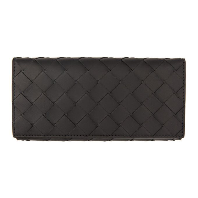 Photo: Bottega Veneta Black Intrecciato Continental Wallet