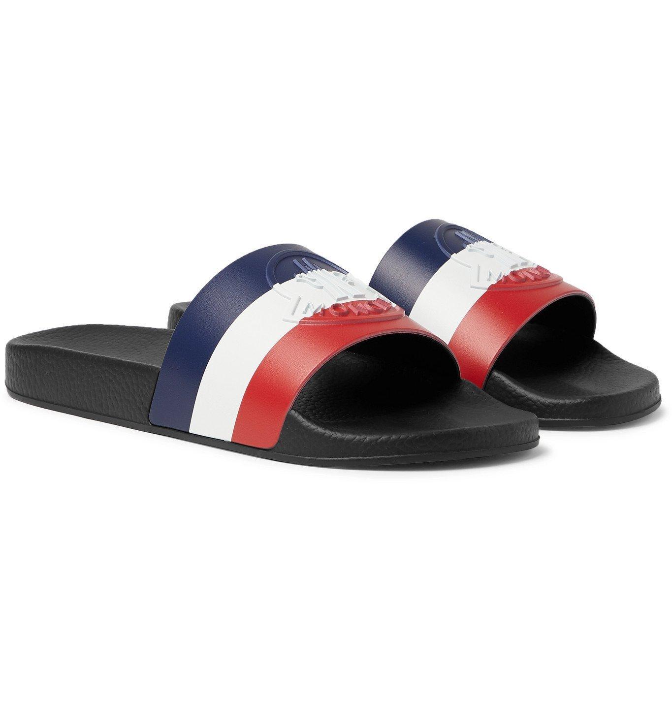 Photo: Moncler - Basile Logo-Embossed Striped Rubber Slides - Black