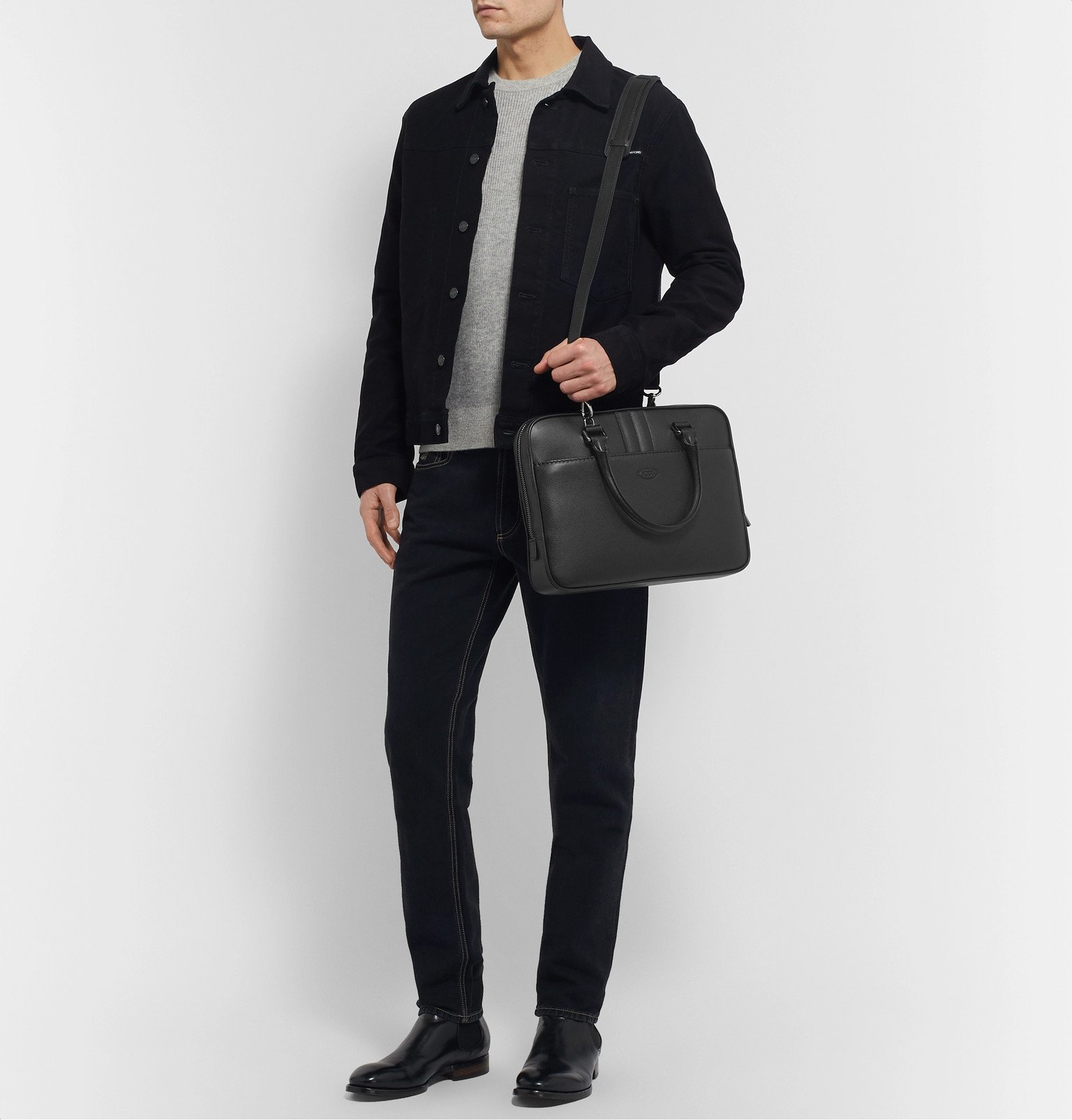 Tod's - Full-Grain Leather Briefcase - Black