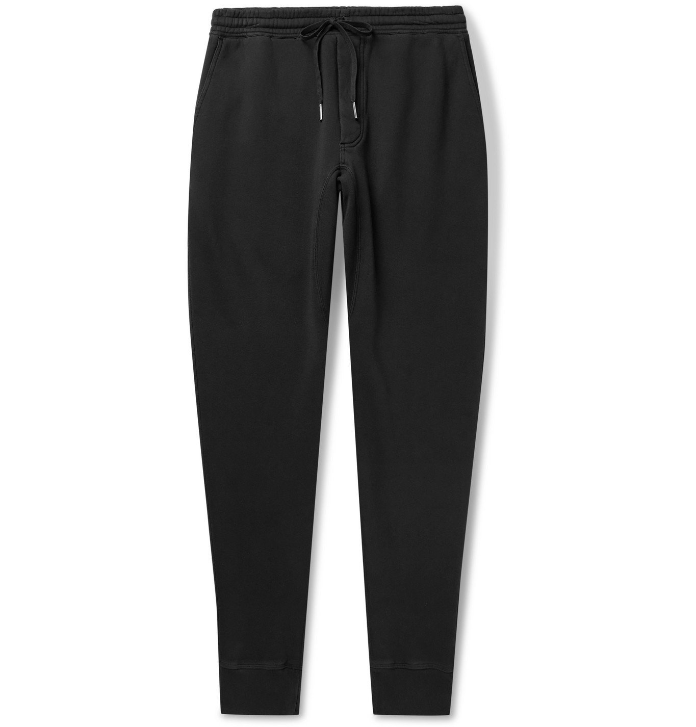 Photo: TOM FORD - Tapered Garment-Dyed Fleece-Back Cotton-Jersey Sweatpants - Black