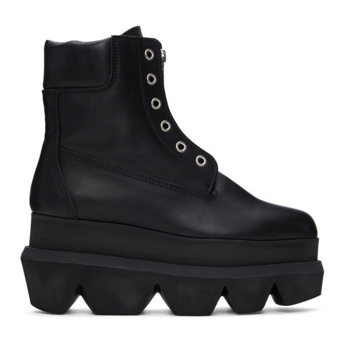 Sacai Black Zipper Ankle Boots