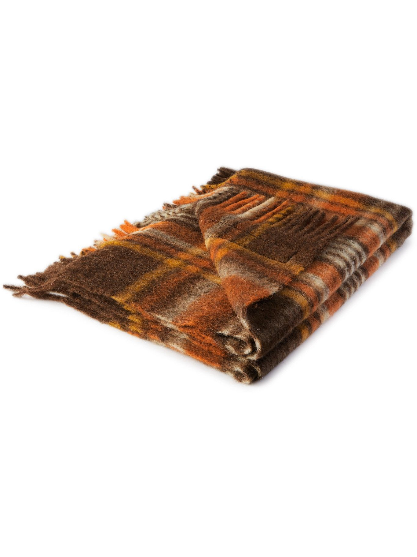 Photo: Acne Studios - Vally Fringed Logo-Appliquéd Checked Knitted Blanket
