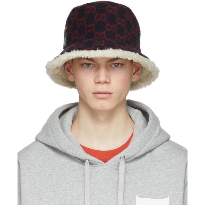 Photo: Gucci Navy and Red Wool GG Bucket Hat