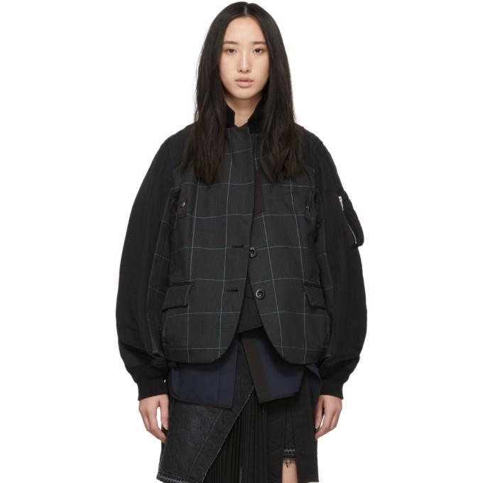 Photo: Sacai Black and Green Glen Check Panelled Jacket