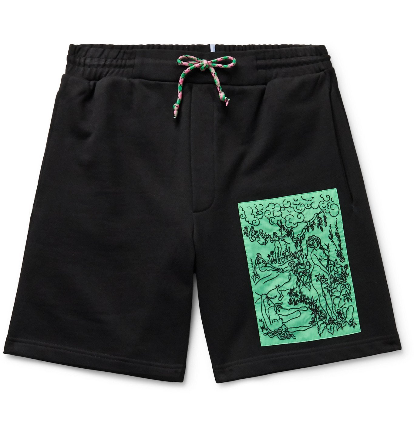 Photo: MCQ - Appliquéd Loopback Cotton-Jersey Drawstring Shorts - Black