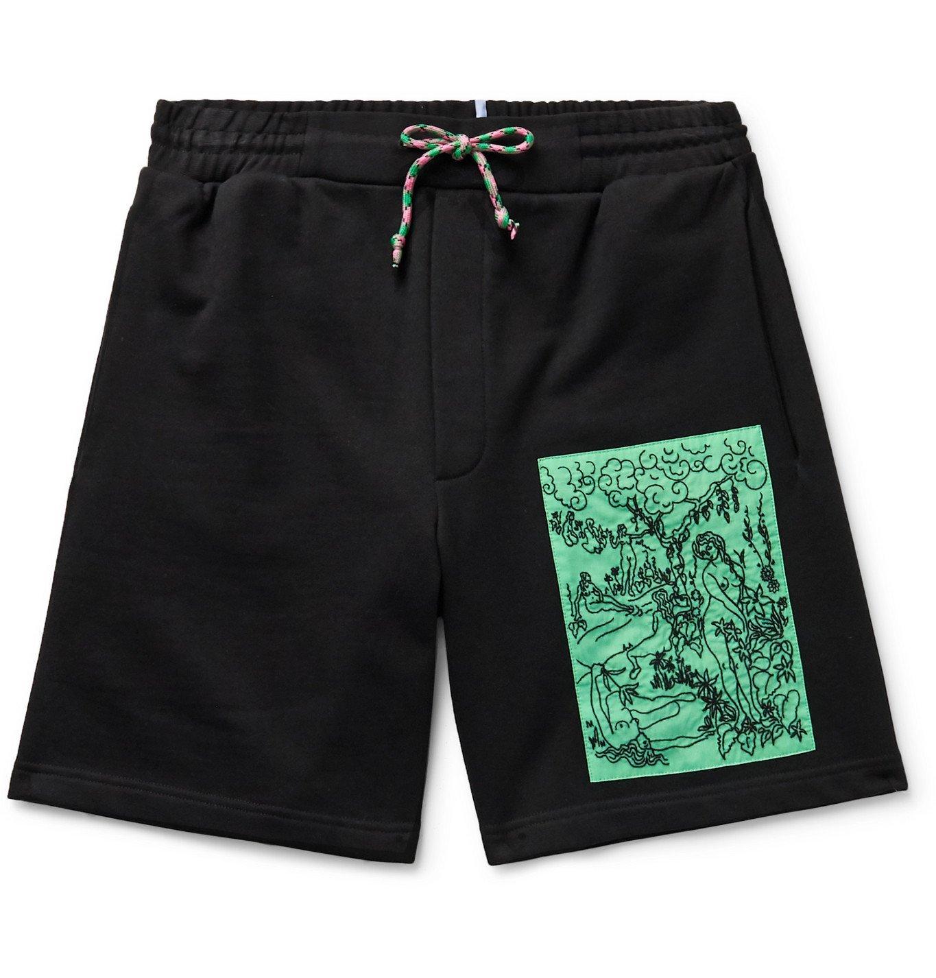 Photo: MCQ - Appliquéd Loopback Cotton-Jersey Drawstring Shorts - Black