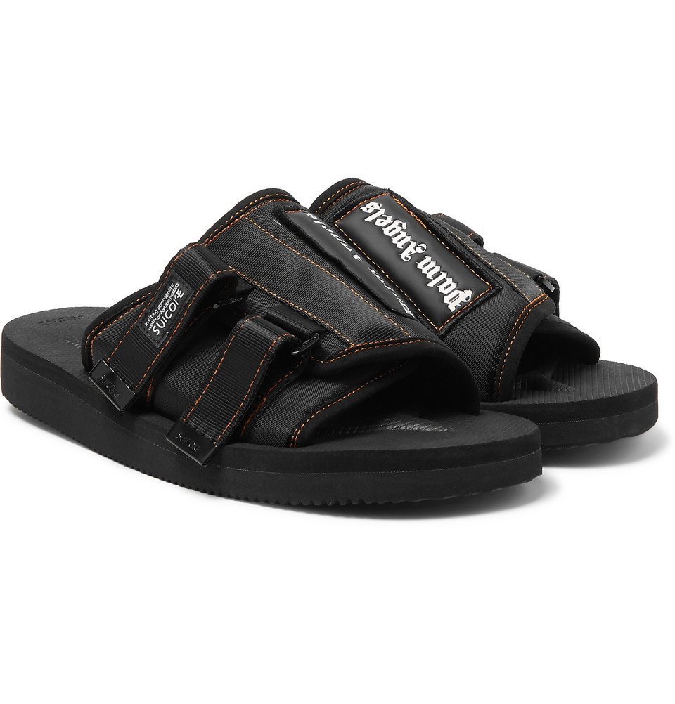 Photo: Palm Angels - Suicoke Kaw Logo-Print Webbing-Trimmed Nylon Slides - Black