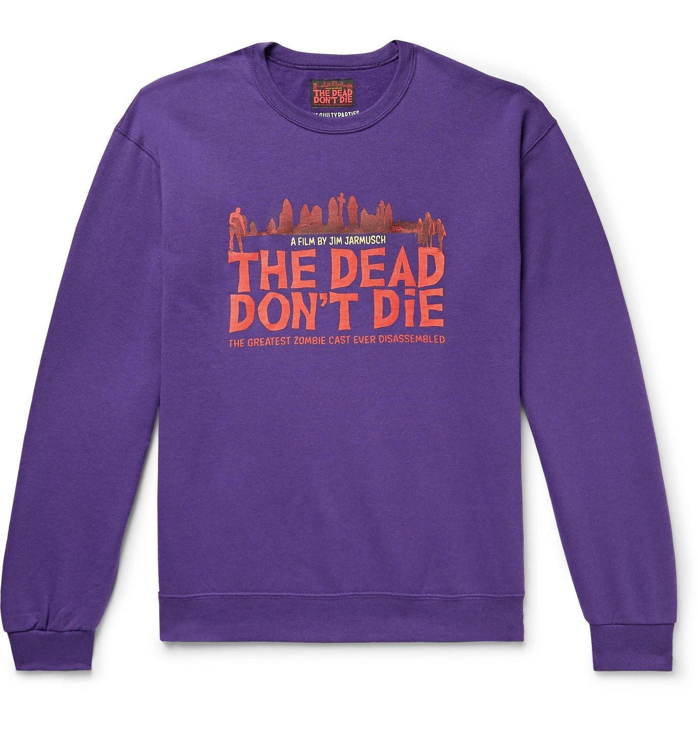 Photo: Wacko Maria - The Dead Don't Die Printed Fleece-Back Cotton-Blend Jersey Sweatshirt - Purple
