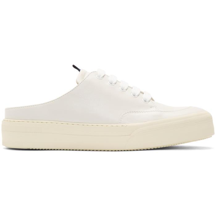 White Open-Back Slip-On Sneakers Sunnei