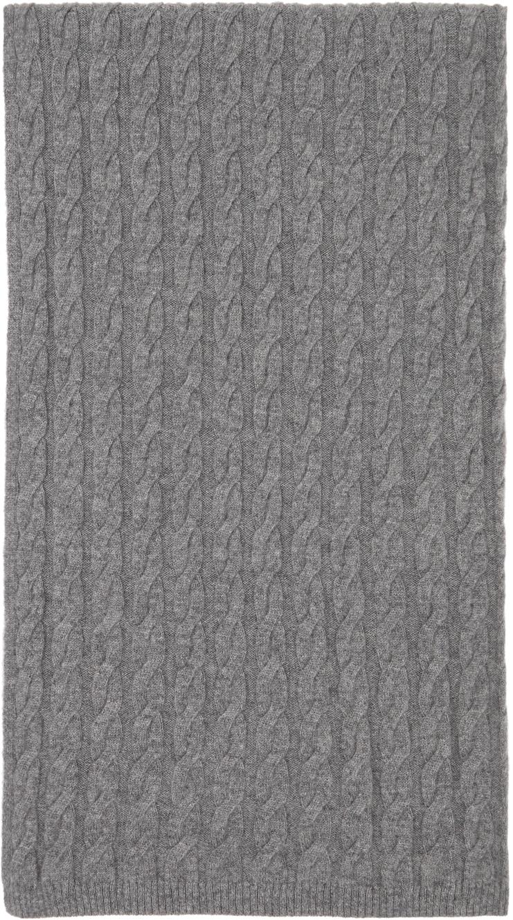 Photo: Totême Grey Cashmere Cable Knit Scarf
